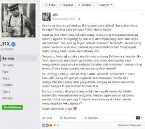 Status dari laman facebook Jerinx. sumber: FB Jerinx