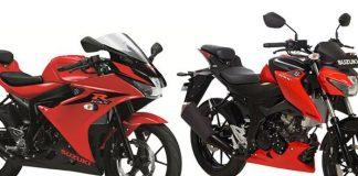 GSX-R 150 dan GSX-S 150 warna stronger red/titan black