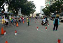 Simulasi Praktik Uji SIM Satlantas Polrestabes Medan di Lapangan Merdeka