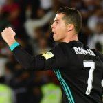 Megabintang Real Madrid, Cristiano Ronaldo, merayakan gol yang dia cetak ke gawang Al Jazira dalam laga semifinal Piala Dunia Antarklub di Stadion Sheikh Zayed Sports City, Abu Dhabi, Uni Emirat Arab, pada 13 Desember 2017.(GIUSEPPE CACACE/AFP)