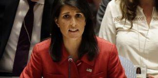 Dubes AS untuk PBB Nikki Haley saat berbicara pada sidang DK PBB di New York, Rabu (5/7/2017), untuk merespons pengujian ICBM Korut pada hari sebelumnya.(UPI/Barcroft Images)